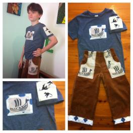 This is a boys outfit I made from the viking ships I printed with Marina Cavalieri