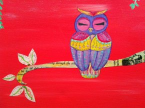 mixed media owl pink