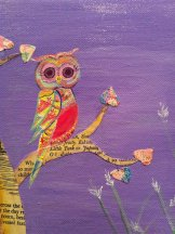 mixed media Owl purple