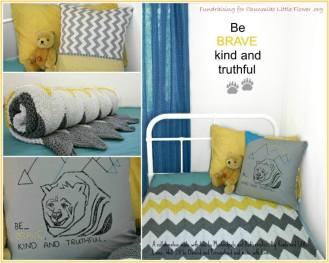 Bear Lino-art , stamped and hand embroidered throw cushion
