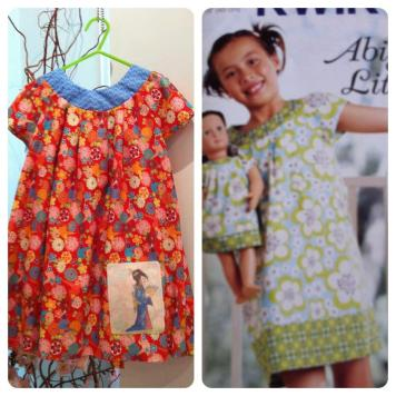 Custom dress with original art print detail